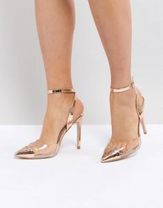 Туфли-лодочки цвета розового золота с прозрачными вставками Public Desire Heart Throb - Золотой