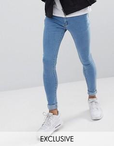 Супероблегающие джинсы с отделкой в виде молнии на карманах Liquor N Poker - Синий