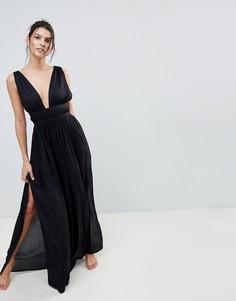 Пляжное платье макси с вырезом в греческом стиле ASOS - Черный