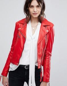 Кожаная куртка с асимметричной молнией Lab - Красный