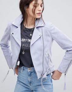 Замшевая байкерская куртка с поясом Lab - Фиолетовый