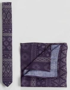 Фактурный фиолетовый галстук и платок для нагрудного кармана с принтом пейсли ASOS - Фиолетовый