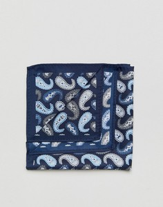 Темно-синий платок для нагрудного кармана с принтом пейсли ASOS - Темно-синий