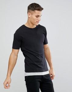 Удлиненная футболка из пике со вставкой у нижнего края Only & Sons - Черный