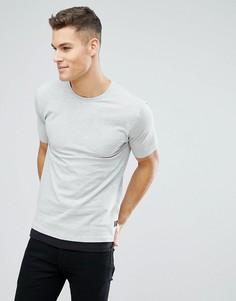 Удлиненная футболка из пике со вставкой у нижнего края Only & Sons - Серый