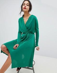 Платье с запахом и асимметричным подолом Y.A.S - Зеленый