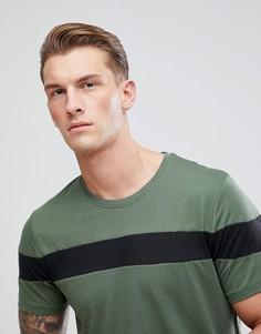 Удлиненная футболка со вставкой Only & Sons - Зеленый