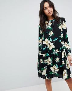 Короткое приталенное платье с принтом Y.A.S - Мульти