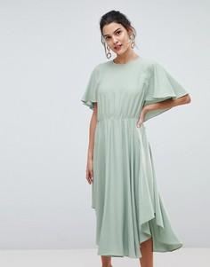 Струящееся платье миди в золотистый горошек Y.A.S - Зеленый