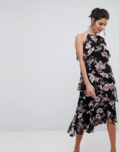 Платье миди с высоким воротом, оборками и цветочным принтом Y.A.S - Мульти