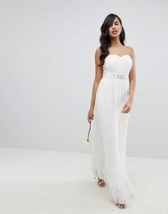 Кружевное платье макси с завязывающимся поясом Lipsy - Белый