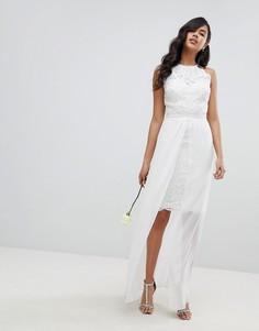 Платье-футляр миди со съемной юбкой макси из шифона Lipsy - Белый