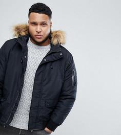 Дутая куртка со съемным капюшоном и искусственным мехом Only & Sons PLUS - Черный