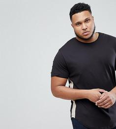 Удлиненная футболка со вставками по бокам Only & Sons PLUS - Черный