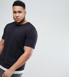 Удлиненная футболка из пике со вставкой Only & Sons PLUS - Черный