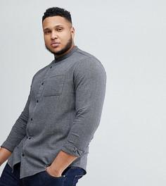 Рубашка узкого кроя с воротником на пуговице Only & Sons PLUS - Черный