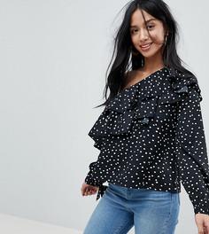 Блузка на одно плечо в горошек Boohoo Petite - Черный