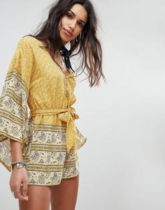 Ромпер с рукавами-кимоно, поясом на завязке и принтом пейсли ebonie n ivory - Желтый