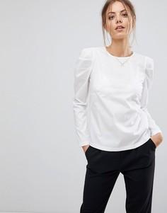 Блузка со структурированным дизайном на плечах Esprit - Белый