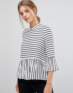 Рубашка в полоску с оборками и пуговицами на спине Esprit - Белый