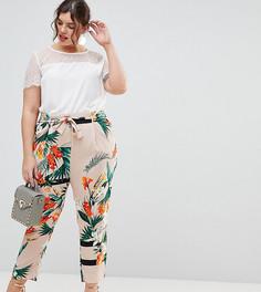 Зауженные брюки с тропическим принтом River Island Plus - Мульти