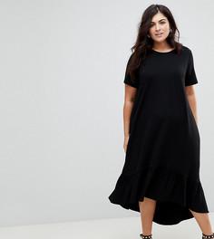 Платье-футболка миди с асимметричным краем ASOS CURVE - Черный