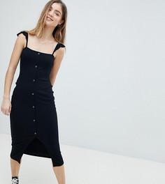 Платье-майка миди с рюшами и планкой на кнопках ASOS PETITE - Черный