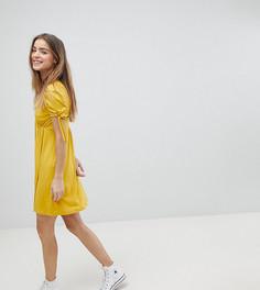 Чайное платье мини на пуговицах с завязками на рукавах ASOS PETITE - Желтый