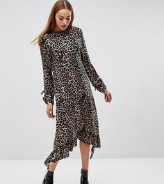 Платье миди с оборкой и леопардовым принтом ASOS TALL - Мульти
