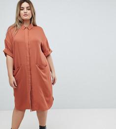Платье-рубашка с короткими рукавами ASOS CURVE - Коричневый