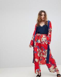 Комбинируемые широкие брюки с цветочным принтом Kiss The Sky - Красный