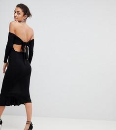 Платье миди с открытыми плечами и бантом на спине ASOS TALL - Черный