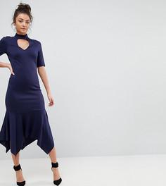Платье миди с высоким воротом и оборкой ASOS TALL - Темно-синий