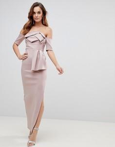 Платье макси со спущенными плечами и бантом ASOS - Розовый