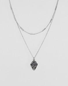 Ожерелье в винтажном стиле с подвеской ASOS - Серебряный