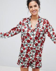 Атласный пижамный комплект с принтом роз Missguided Valentines - Мульти