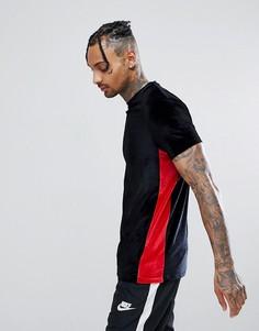 Длинная велюровая футболка с контрастными вставками по бокам ASOS - Черный
