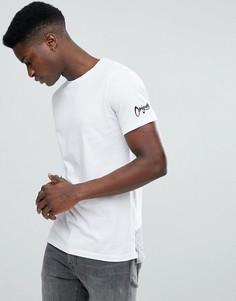 Длинная хлопковая футболка со ступенчатой кромкой Jack & Jones - Белый