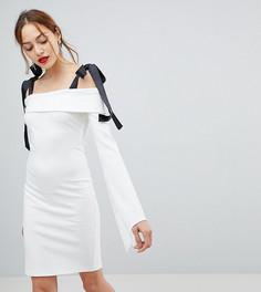 54651049a65 Платье мини с открытыми плечами и завязками John Zack Tall - Белый