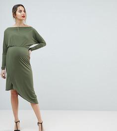 Облегающее платье с открытыми плечами и запахом Queen Bee - Зеленый