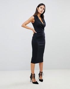 Платье-смокинг миди без рукавов ASOS - Черный