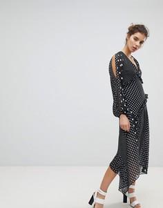 Платье в горошек и полоску с асимметричным краем Miss Selfridge - Мульти