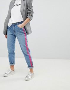 Синие прямые джинсы с розовыми полосками по бокам Pimkie - Синий
