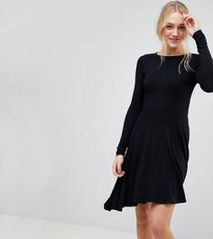 Короткое приталенное платье с асимметричным краем ASOS TALL - Черный