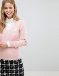 Джемпер крупной вязки с V-образным вырезом Jack Wills - Розовый