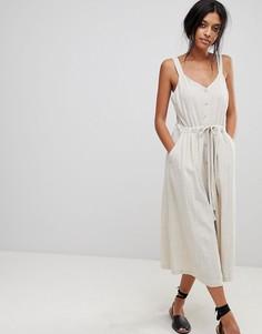 Платье миди с пуговицами Moon River - Бежевый