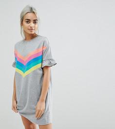 Платье-футболка в разноцветную полоску с оборками ASOS PETITE - Серый