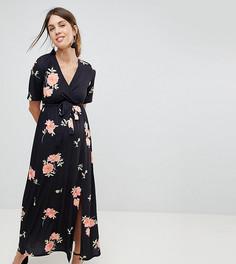 Платье макси с запахом и цветочным принтом ASOS MATERNITY NURSING - Мульти