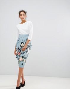 Платье-футляр 2-в-1 с контрастным цветочным принтом Closet London - Мульти