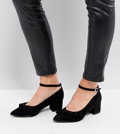 Туфли-лодочки для широкой стопы из 2-х частей на блочном каблуке New Look - Черный